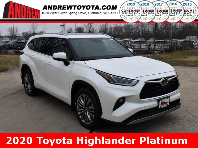 Stock #: 39403 Blizzard Pearl [extra_cost_color] 2020 Toyota Highlander Platinum 4D Sport Utility in Milwaukee, Wisconsin 53209