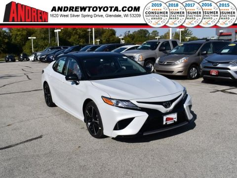 Stock #: 38748 Wind Chill Pearl with Two-Tone Midnight Black Metallic Roof and Rear Spoiler [extra_cost_color] 2020 Toyota Camry XSE 4D Sedan in Milwaukee, Wisconsin 53209