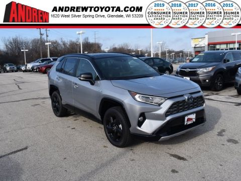 Stock #: 38973 Silver Sky Metallic / Midnight Black Metallic 2020 Toyota RAV4 Hybrid XSE 4D Sport Utility in Milwaukee, Wisconsin 53209